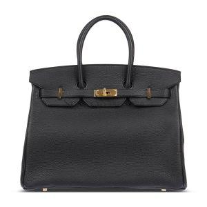 HERMES(爱马仕) 黑色皮质金扣手提包Birkin35