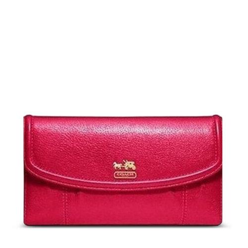 coach 蔻驰 女款麦迪逊真皮长款枚红色钱包