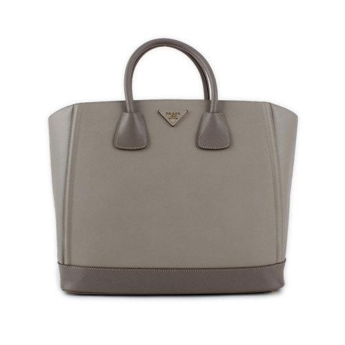 prada/普拉达女款压纹牛皮灰色拼接手提包
