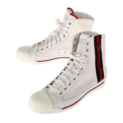 gucci(古驰)白色帆布高帮男鞋