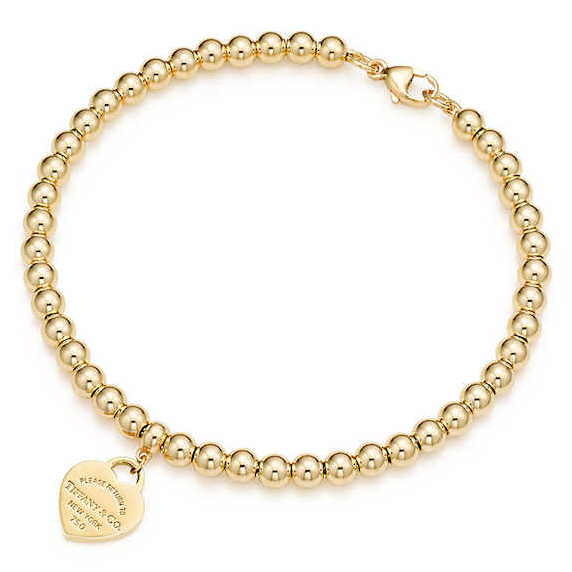 tiffany & co./蒂芙尼 系列 迷你18k 金 heart tag 珠式手链图片