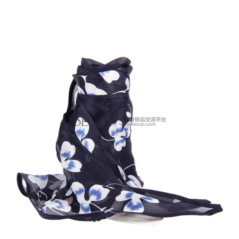 chanel(香奈儿) 藏青色印花双c图案丝巾