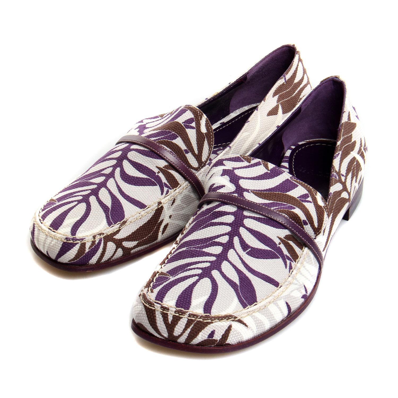 bally(巴利)紫色树叶图案灰色帆布鞋 36.5