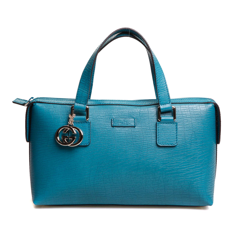 gucci(古驰)蓝绿色皮质手提包