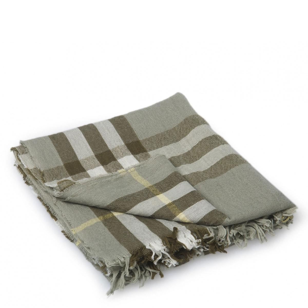 【BURBERRY博柏利 围巾】Burberry 柏博利浅灰色格子条纹围巾 【正品 价格 图片】 - 寺库网