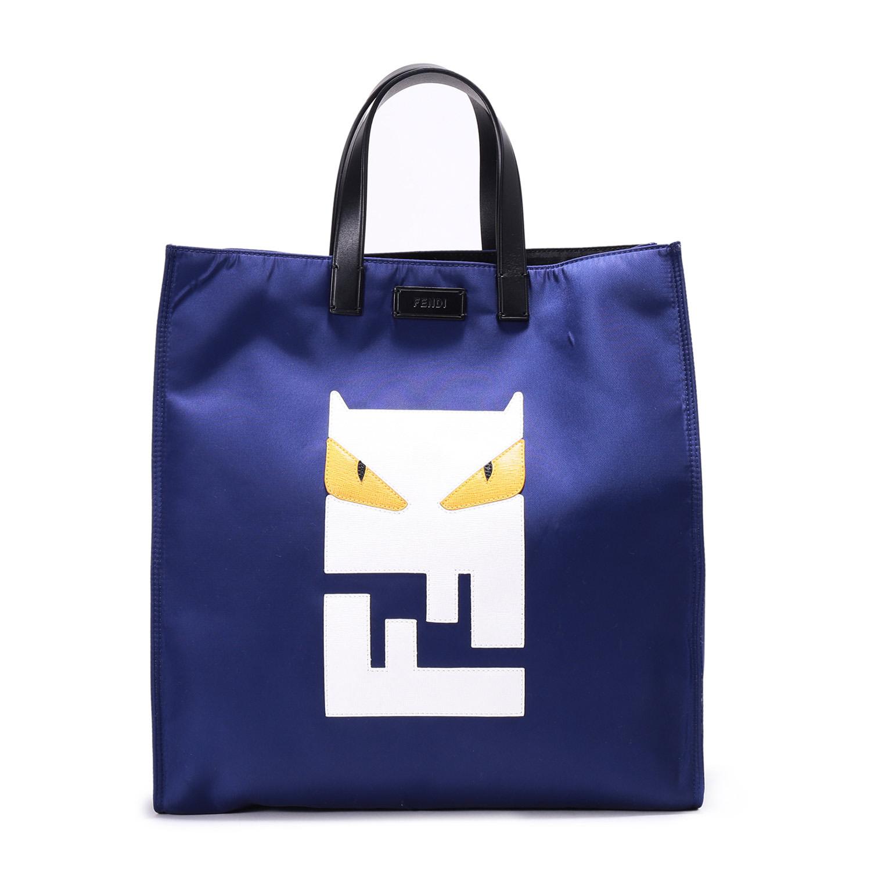 fendi(芬迪) #蓝色尼龙动物图案手提包