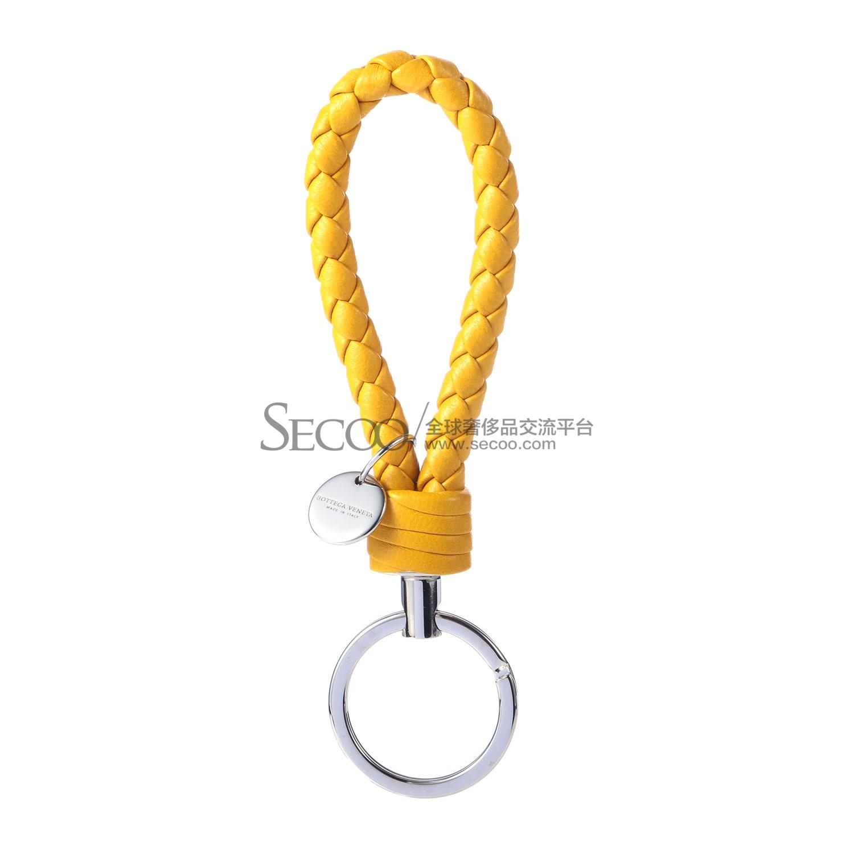 黄色皮质编织钥匙扣