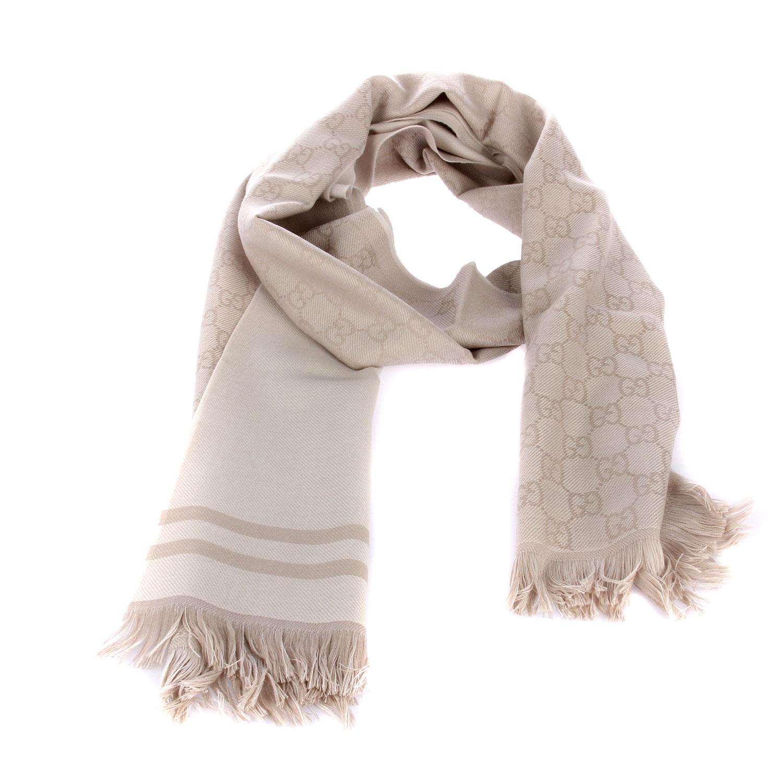 gucci(古驰)深米色两面围巾
