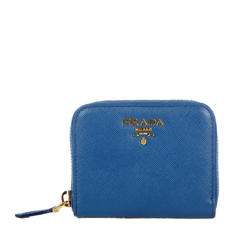 prada(普拉达)蓝色皮质短款拉链零钱包