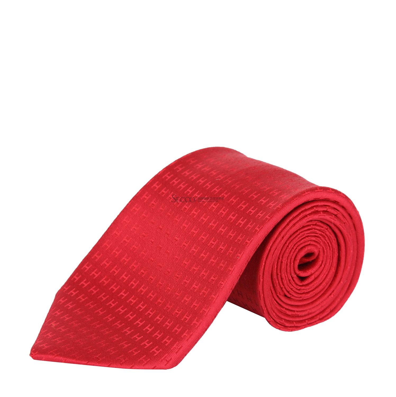 hermes大红色h领带