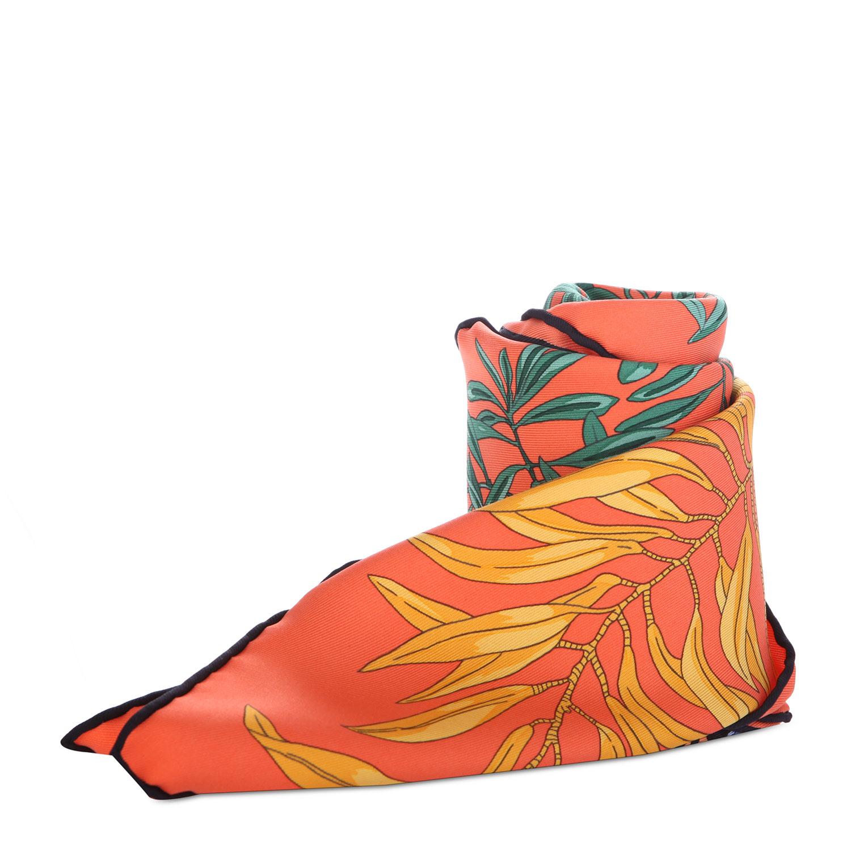 橘色系树叶图案丝巾