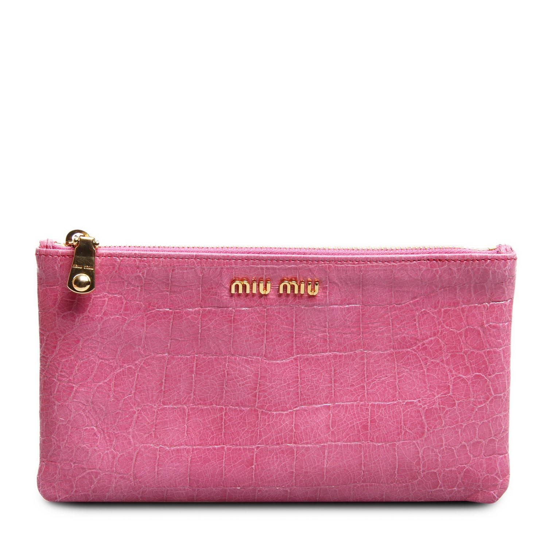 miumiu(缪缪)粉色皮质零钱包