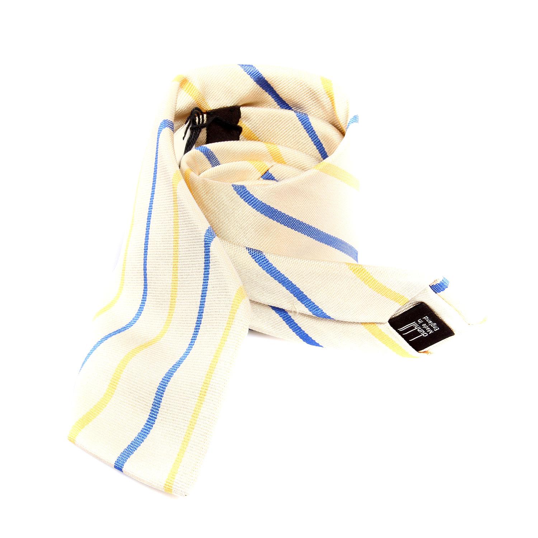 dunhill(登喜路)米白底蓝黄条斜纹领带