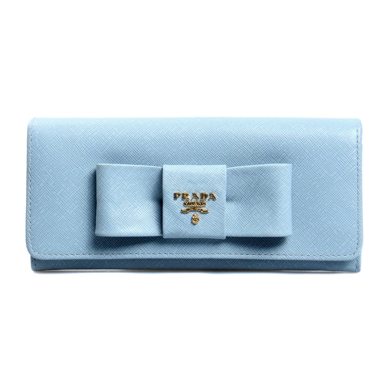 prada(普拉达)浅蓝色蝴蝶结长款钱夹