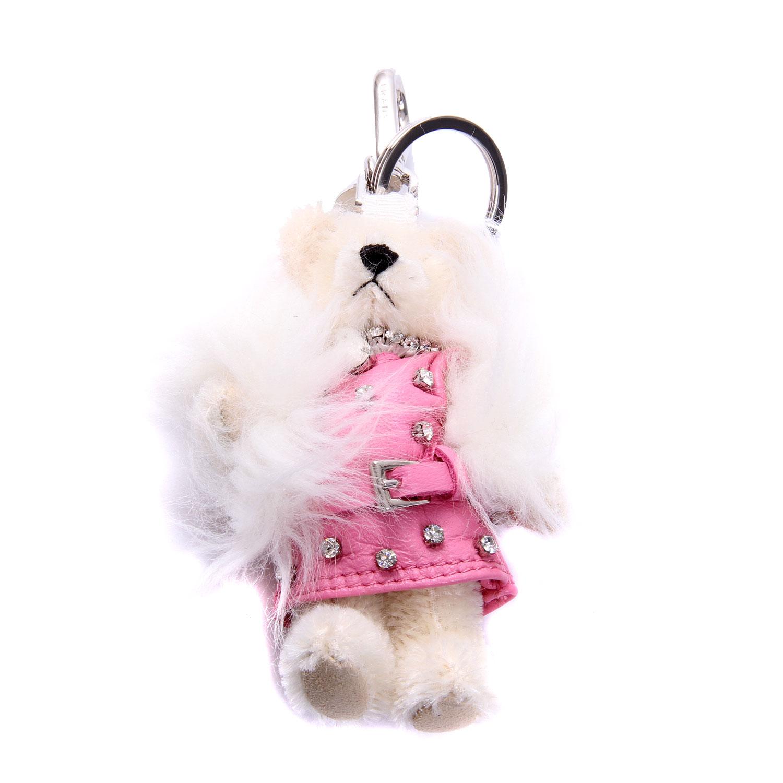 prada(普拉达)米白色水钻装饰小熊挂饰