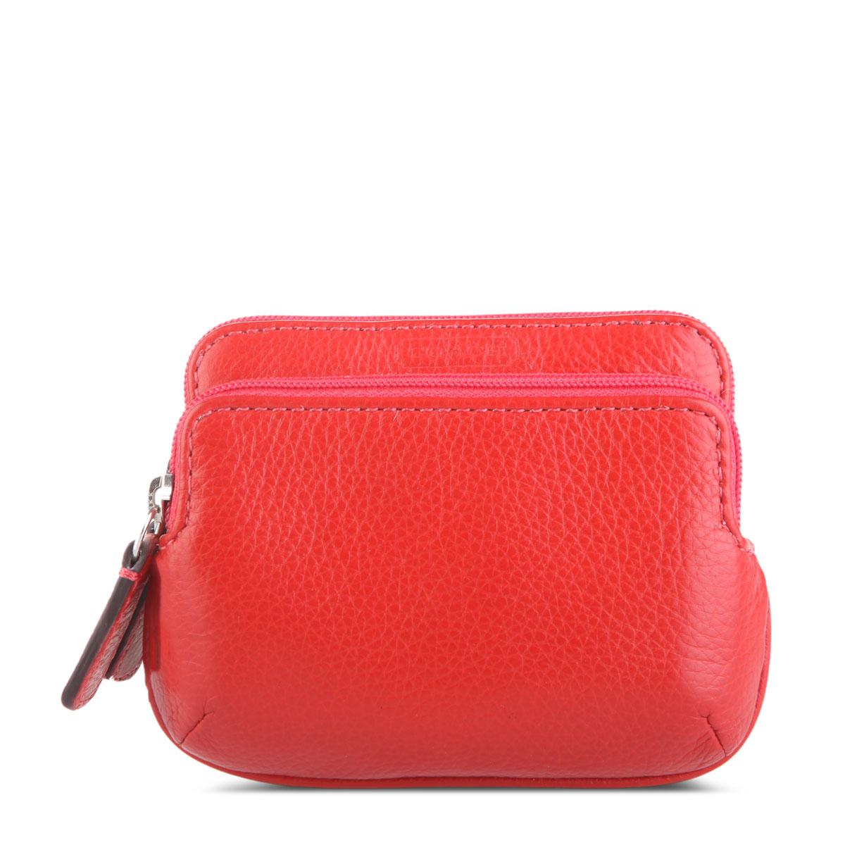 红色纯皮零钱包