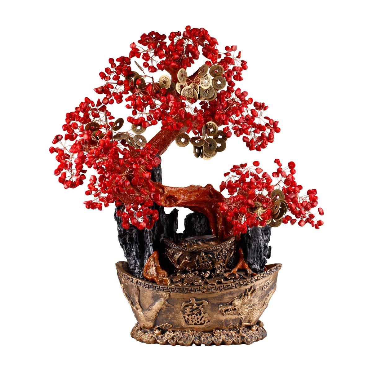 纯天然红珊瑚元宝招财树