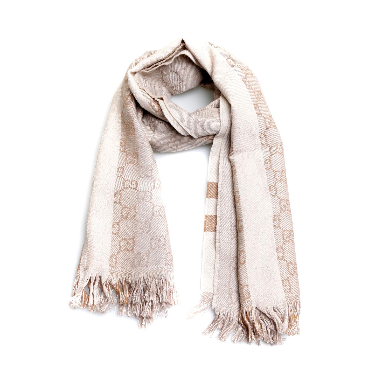 gucci(古驰)米色羊毛围巾