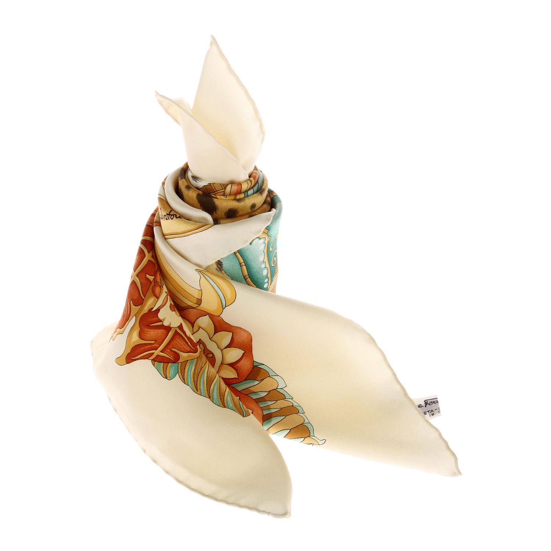 ferragamo(菲拉格慕)黄色系豹头图案丝巾图片