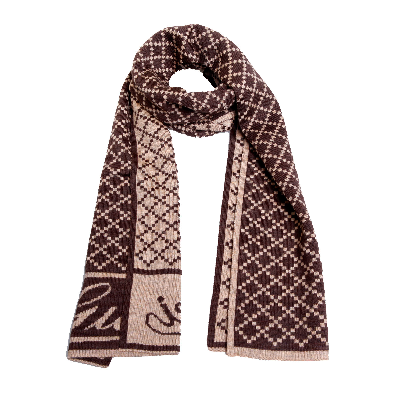 gucci(古驰)棕色菱形格纹羊绒围巾