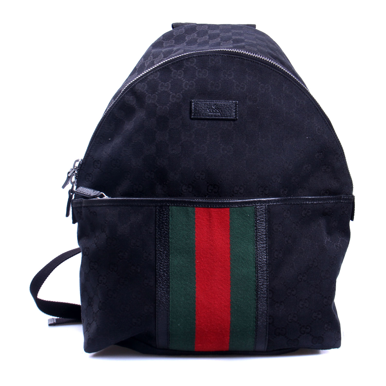 gucci(古驰)黑色帆布双肩包【正品 价格 图片】寺库图片