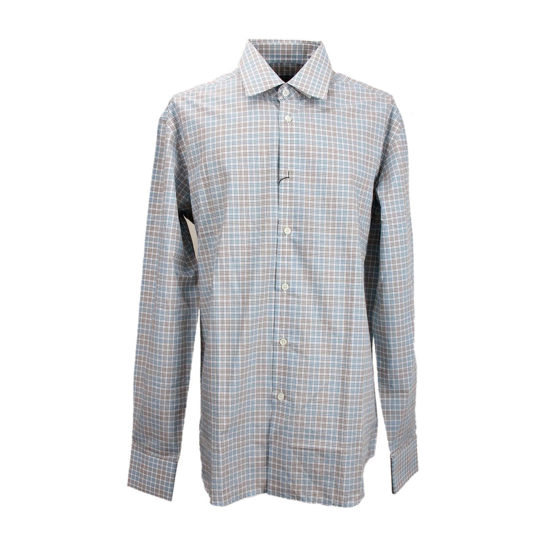prada蓝/灰色格子衬衫 40【正品 价格 图片】寺库