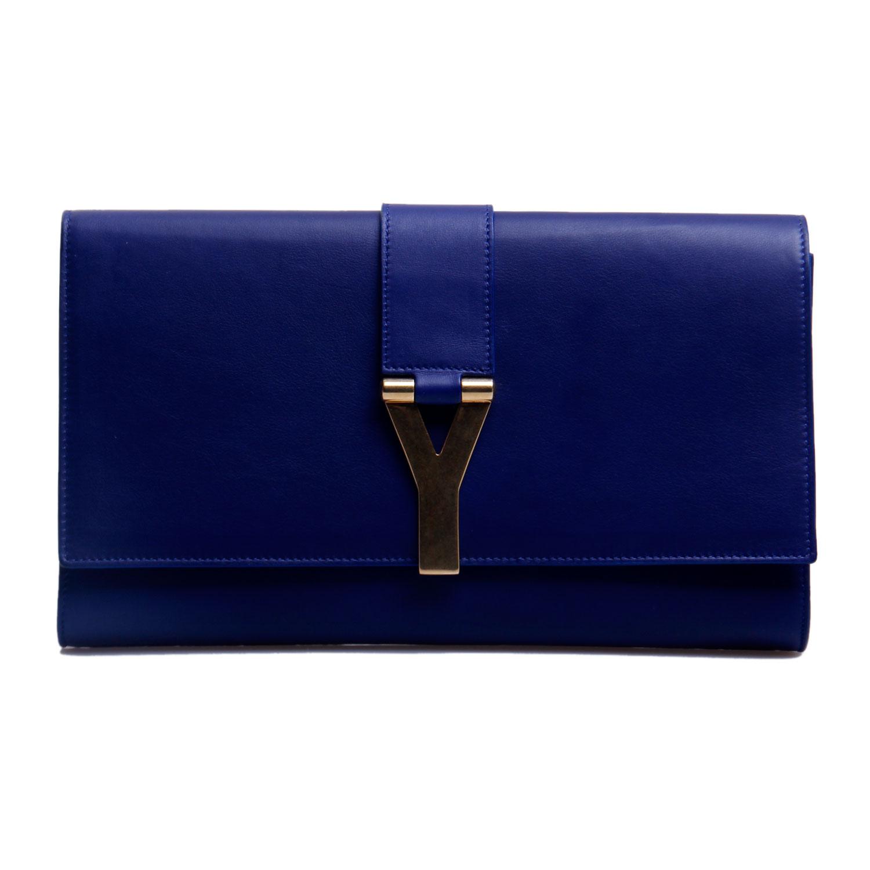 laurent(圣罗兰)宝蓝色皮质手包