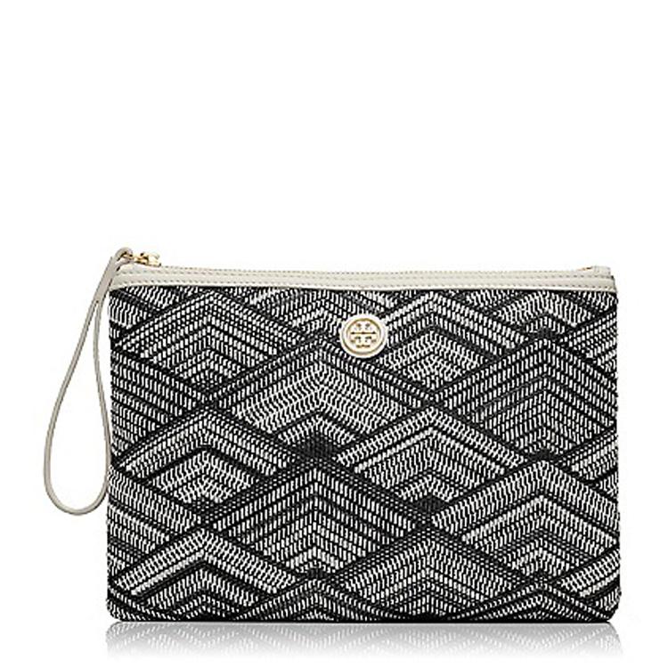 伯奇patterned黑白色菱形图案编织皮质手包21149121
