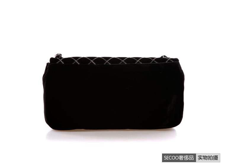 chanel(香奈儿)女士黑色绒布单肩包 plj