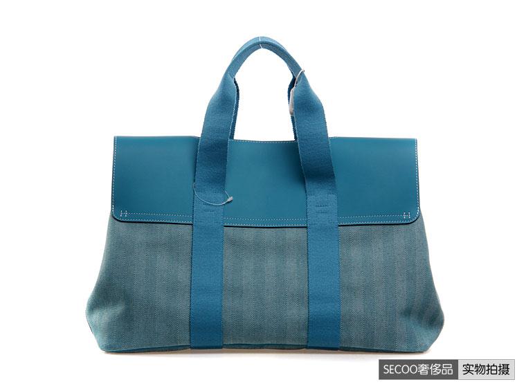 爱马仕】hermes(爱马仕)女士蓝色帆布手提包