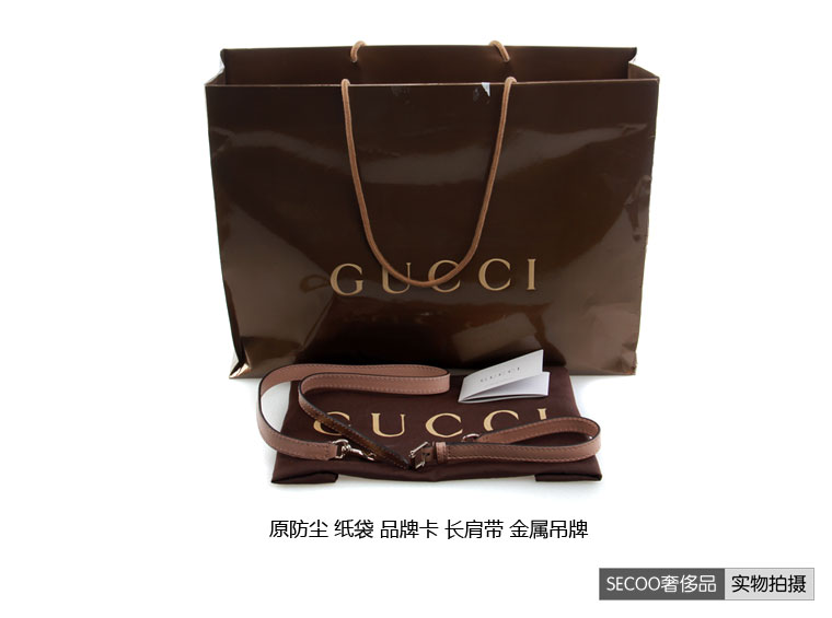 【gucci 古驰】gucci(古琦)卡其色粉边帆布包