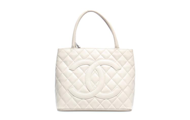 chanel(香奈儿)白色荔枝皮手提包
